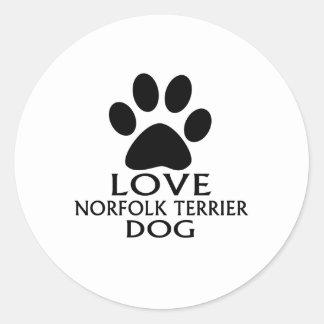 LOVE NORFOLK TERRIER DOG DESIGNS CLASSIC ROUND STICKER