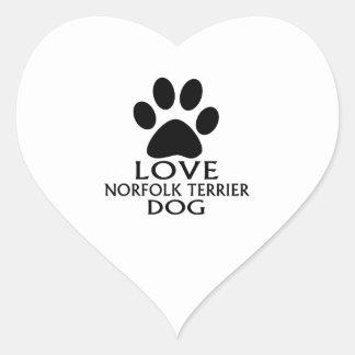 LOVE NORFOLK TERRIER DOG DESIGNS HEART STICKER