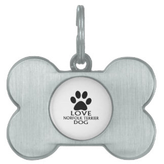 LOVE NORFOLK TERRIER DOG DESIGNS PET ID TAG