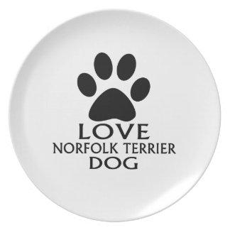 LOVE NORFOLK TERRIER DOG DESIGNS PLATE