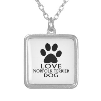 LOVE NORFOLK TERRIER DOG DESIGNS SILVER PLATED NECKLACE