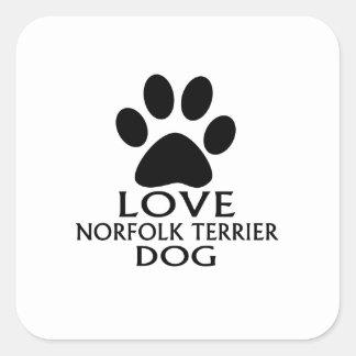 LOVE NORFOLK TERRIER DOG DESIGNS SQUARE STICKER