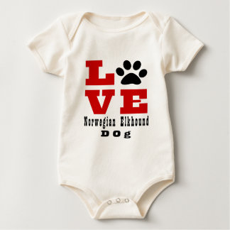 Love Norwegian Elkhound Dog Designes Baby Bodysuit