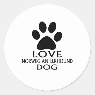 LOVE NORWEGIAN ELKHOUND DOG DESIGNS CLASSIC ROUND STICKER