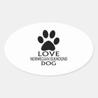 LOVE NORWEGIAN ELKHOUND DOG DESIGNS OVAL STICKER