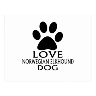 LOVE NORWEGIAN ELKHOUND DOG DESIGNS POSTCARD