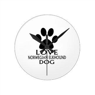 LOVE NORWEGIAN ELKHOUND DOG DESIGNS ROUND CLOCK