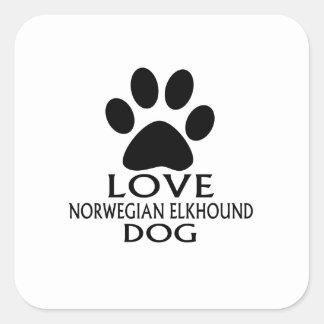 LOVE NORWEGIAN ELKHOUND DOG DESIGNS SQUARE STICKER