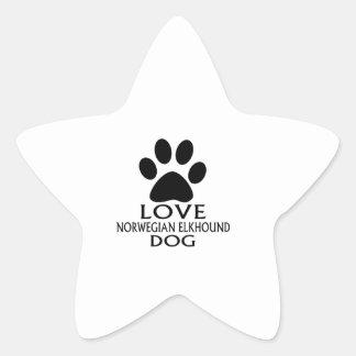 LOVE NORWEGIAN ELKHOUND DOG DESIGNS STAR STICKER