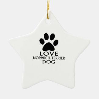LOVE NORWICH TERRIER DOG DESIGNS CERAMIC ORNAMENT