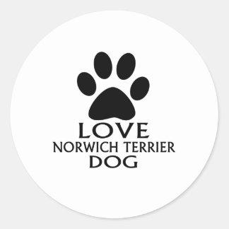 LOVE NORWICH TERRIER DOG DESIGNS CLASSIC ROUND STICKER