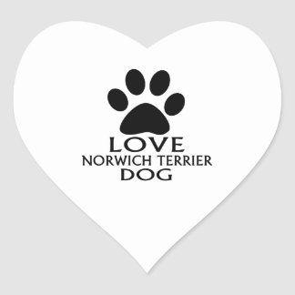 LOVE NORWICH TERRIER DOG DESIGNS HEART STICKER