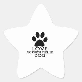 LOVE NORWICH TERRIER DOG DESIGNS STAR STICKER