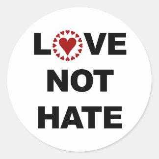 LOVE NOT HATE CLASSIC ROUND STICKER