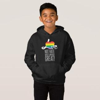 Love Not Hate (Rainbow) Boy's Dark Hoodie
