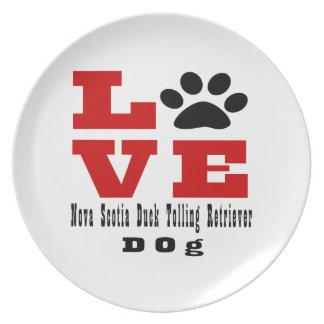 Love Nova Scotia Duck Tolling Retriever Dog Design Dinner Plate