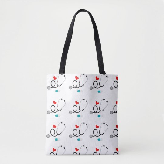 Love Nursing pattern womens tote bag