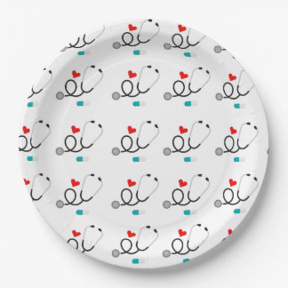 Love nursing tiled party paper plates