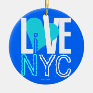 Love NYC Live In NYC Ornament Blue Green