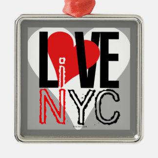 Love NYC Live In NYC Square Ornament Grey