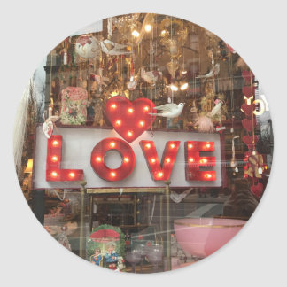 LOVE NYC Valentine's Day Store Window Heart Sign Classic Round Sticker