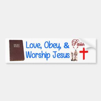 Love, Obey & Worship Jesus Bumper Sticker