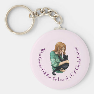 """""""Love of a Cat"""" Key Ring Basic Round Button Keychain"""