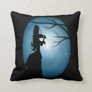 Love Of Music, Lady Playing A Violin Throw Pillow