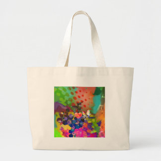 Love of Nature with multicolor background. Large Tote Bag