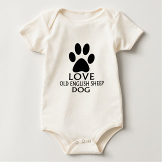 LOVE OLD ENGLISH SHEEP Dog DESIGNS Baby Bodysuit