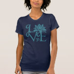 Love-Om-Namaste Racerback Teal & Dark Blue T-Shirt