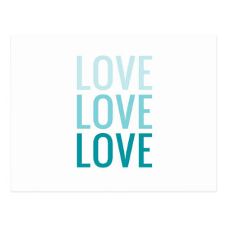 LOVE Ombre Turquoise Typography Postcard