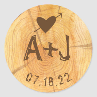 Love on a Log | Custom Monograms Wedding Party Round Sticker