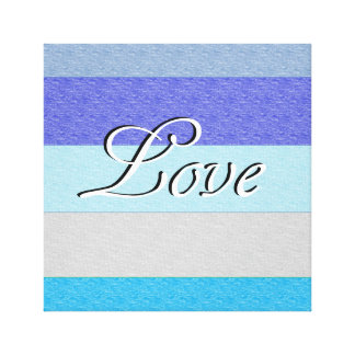 LOVE on Blue Canvas Print