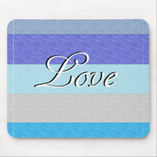 LOVE on Blue Mouse Pad
