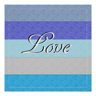 LOVE on Blue Poster