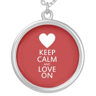 Love on for Valentines day Round Pendant Necklace