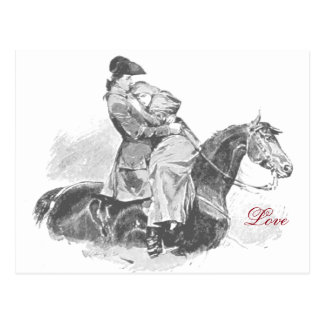 Love on Horse Black and White Postcard