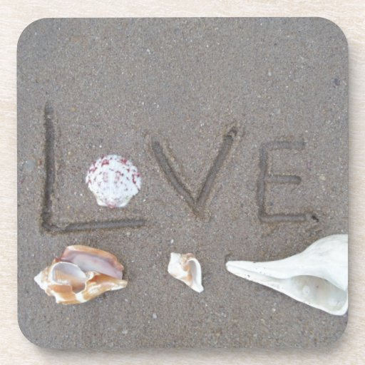 Love on the Beach with sea shells Drink Coasters