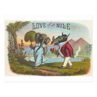 Love On The Nile Vintage Cigar Label Art Postcard