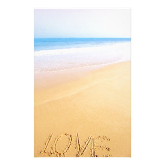 Love on the sand, photo customized stationery