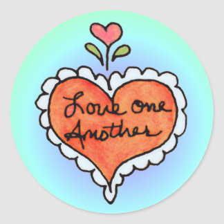 LOVE ONE ANOTHER by SHARON SHARPE Classic Round Sticker