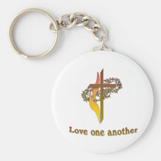 love one another christian cross keychain