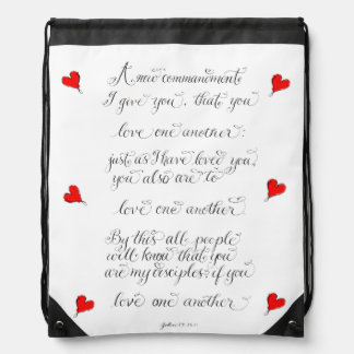 Love one another inspirational verse drawstring bag