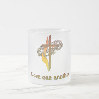 Love one another products frosted glass coffee mug