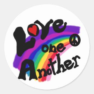 Love One Another Rainbow Round Sticker