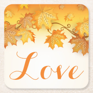 Love Orange Autumn Leaves Wedding Party Square Paper Coaster