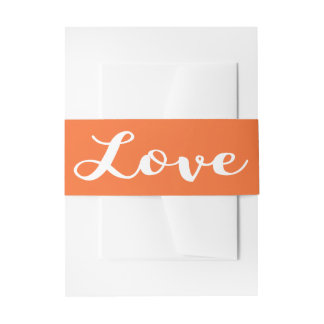 Love Orange & White Wedding Invitation Invitation Belly Band