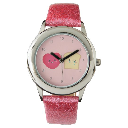 Love over Bread, Cute Food Cartoon Wristwatches