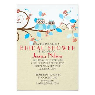 Love Owl Branches Wood Damask Bridal Shower Card